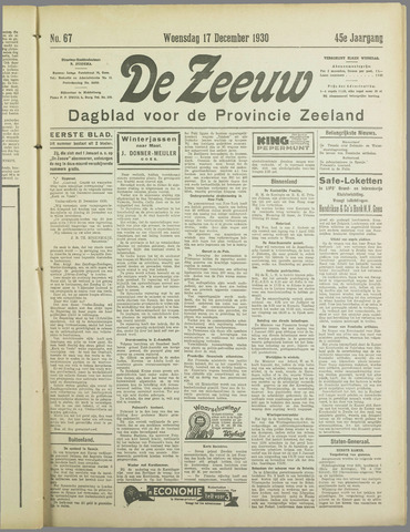 De Zeeuw. Christelijk-historisch nieuwsblad voor Zeeland 1930-12-17