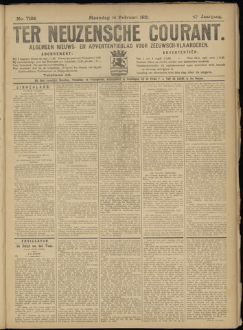 Ter Neuzensche Courant. Algemeen Nieuws- en Advertentieblad voor Zeeuwsch-Vlaanderen / Neuzensche Courant ... (idem) / (Algemeen) nieuws en advertentieblad voor Zeeuwsch-Vlaanderen 1921-02-14