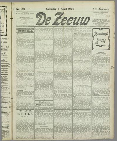 De Zeeuw. Christelijk-historisch nieuwsblad voor Zeeland 1920-04-03