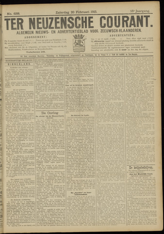Ter Neuzensche Courant. Algemeen Nieuws- en Advertentieblad voor Zeeuwsch-Vlaanderen / Neuzensche Courant ... (idem) / (Algemeen) nieuws en advertentieblad voor Zeeuwsch-Vlaanderen 1915-02-20
