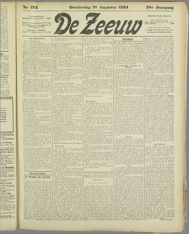 De Zeeuw. Christelijk-historisch nieuwsblad voor Zeeland 1924-08-21