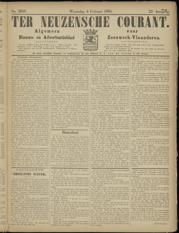Ter Neuzensche Courant. Algemeen Nieuws- en Advertentieblad voor Zeeuwsch-Vlaanderen / Neuzensche Courant ... (idem) / (Algemeen) nieuws en advertentieblad voor Zeeuwsch-Vlaanderen 1885-02-04