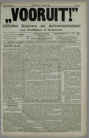 """""""Vooruit!""""Officieel Nieuws- en Advertentieblad voor Overflakkee en Goedereede 1915-04-07"""