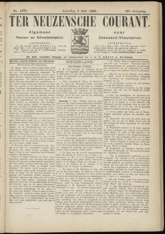 Ter Neuzensche Courant. Algemeen Nieuws- en Advertentieblad voor Zeeuwsch-Vlaanderen / Neuzensche Courant ... (idem) / (Algemeen) nieuws en advertentieblad voor Zeeuwsch-Vlaanderen 1880-06-05