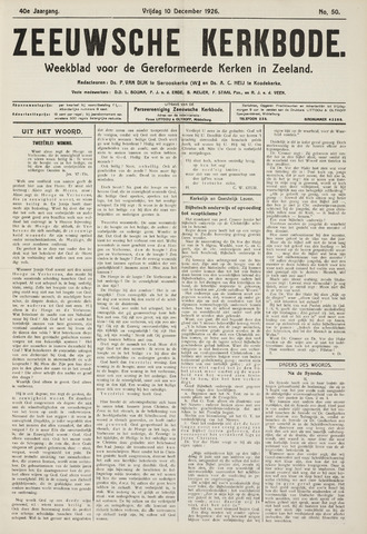 Zeeuwsche kerkbode, weekblad gewijd aan de belangen der gereformeerde kerken/ Zeeuwsch kerkblad 1926-12-10