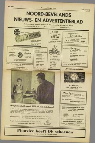 Noord-Bevelands Nieuws- en advertentieblad 1959-04-11