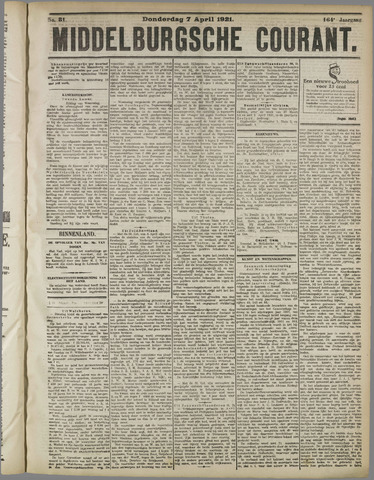 Middelburgsche Courant 1921-04-07