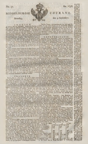 Middelburgsche Courant 1758-09-09