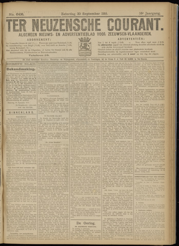 Ter Neuzensche Courant. Algemeen Nieuws- en Advertentieblad voor Zeeuwsch-Vlaanderen / Neuzensche Courant ... (idem) / (Algemeen) nieuws en advertentieblad voor Zeeuwsch-Vlaanderen 1916-09-30