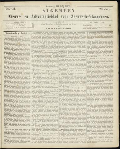 Ter Neuzensche Courant. Algemeen Nieuws- en Advertentieblad voor Zeeuwsch-Vlaanderen / Neuzensche Courant ... (idem) / (Algemeen) nieuws en advertentieblad voor Zeeuwsch-Vlaanderen 1869-07-10