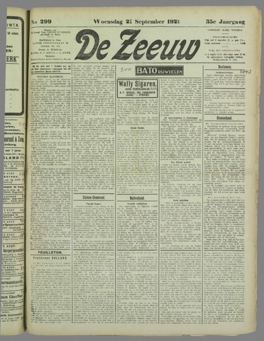 De Zeeuw. Christelijk-historisch nieuwsblad voor Zeeland 1921-09-21