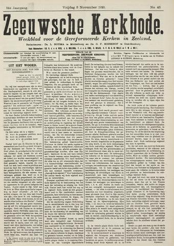Zeeuwsche kerkbode, weekblad gewijd aan de belangen der gereformeerde kerken/ Zeeuwsch kerkblad 1920-11-05
