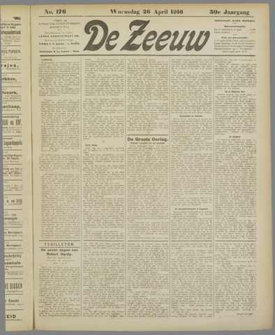 De Zeeuw. Christelijk-historisch nieuwsblad voor Zeeland 1916-04-26