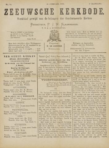 Zeeuwsche kerkbode, weekblad gewijd aan de belangen der gereformeerde kerken/ Zeeuwsch kerkblad 1888-02-25