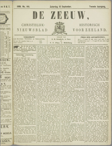 De Zeeuw. Christelijk-historisch nieuwsblad voor Zeeland 1888-09-15