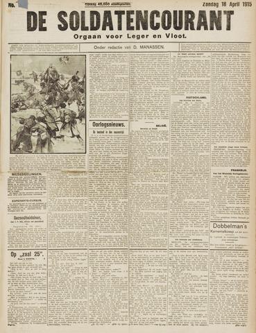 De Soldatencourant. Orgaan voor Leger en Vloot 1915-04-18