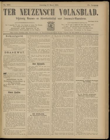 Ter Neuzensch Volksblad. Vrijzinnig nieuws- en advertentieblad voor Zeeuwsch- Vlaanderen / Zeeuwsch Nieuwsblad. Nieuws- en advertentieblad voor Zeeland 1916-03-11