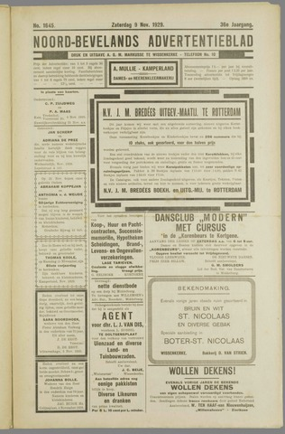 Noord-Bevelands Nieuws- en advertentieblad 1929-11-09