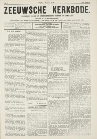 Zeeuwsche kerkbode, weekblad gewijd aan de belangen der gereformeerde kerken/ Zeeuwsch kerkblad 1935-02-01