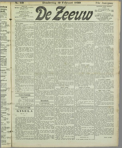 De Zeeuw. Christelijk-historisch nieuwsblad voor Zeeland 1920-02-19