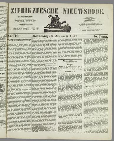 Zierikzeesche Nieuwsbode 1851-01-09