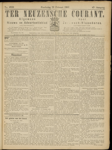 Ter Neuzensche Courant. Algemeen Nieuws- en Advertentieblad voor Zeeuwsch-Vlaanderen / Neuzensche Courant ... (idem) / (Algemeen) nieuws en advertentieblad voor Zeeuwsch-Vlaanderen 1907-02-21