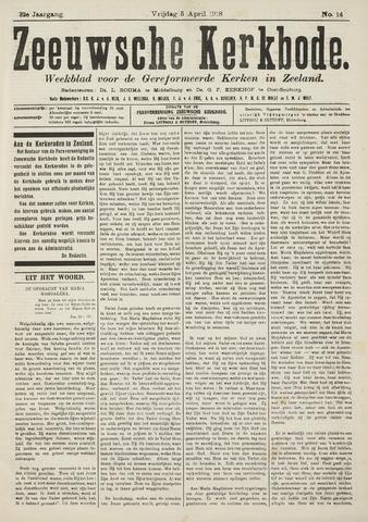 Zeeuwsche kerkbode, weekblad gewijd aan de belangen der gereformeerde kerken/ Zeeuwsch kerkblad 1918-04-05