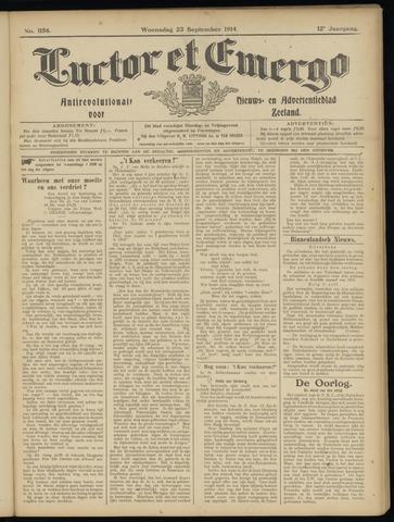 Luctor et Emergo. Antirevolutionair nieuws- en advertentieblad voor Zeeland / Zeeuwsch-Vlaanderen. Orgaan ter verspreiding van de christelijke beginselen in Zeeuwsch-Vlaanderen 1914-09-23