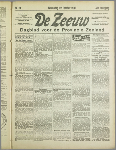 De Zeeuw. Christelijk-historisch nieuwsblad voor Zeeland 1930-10-22
