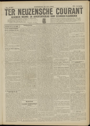 Ter Neuzensche Courant. Algemeen Nieuws- en Advertentieblad voor Zeeuwsch-Vlaanderen / Neuzensche Courant ... (idem) / (Algemeen) nieuws en advertentieblad voor Zeeuwsch-Vlaanderen 1942-07-22