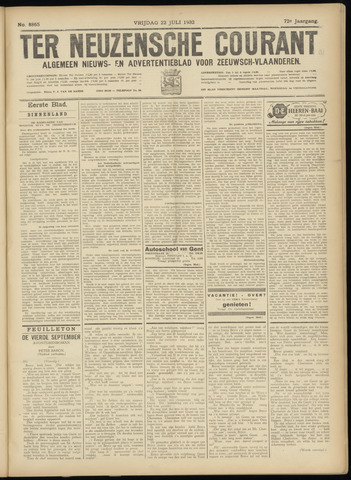 Ter Neuzensche Courant. Algemeen Nieuws- en Advertentieblad voor Zeeuwsch-Vlaanderen / Neuzensche Courant ... (idem) / (Algemeen) nieuws en advertentieblad voor Zeeuwsch-Vlaanderen 1932-07-22