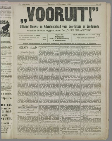 """""""Vooruit!""""Officieel Nieuws- en Advertentieblad voor Overflakkee en Goedereede 1916-11-18"""