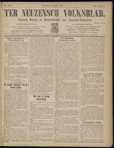 Ter Neuzensch Volksblad. Vrijzinnig nieuws- en advertentieblad voor Zeeuwsch- Vlaanderen / Zeeuwsch Nieuwsblad. Nieuws- en advertentieblad voor Zeeland 1917-02-03