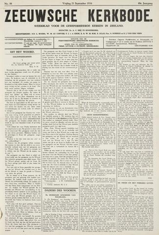 Zeeuwsche kerkbode, weekblad gewijd aan de belangen der gereformeerde kerken/ Zeeuwsch kerkblad 1934-09-21