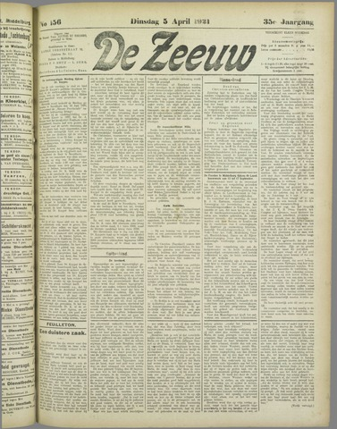 De Zeeuw. Christelijk-historisch nieuwsblad voor Zeeland 1921-04-05
