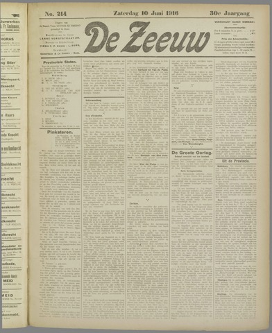De Zeeuw. Christelijk-historisch nieuwsblad voor Zeeland 1916-06-10