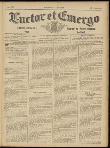 Luctor et Emergo. Antirevolutionair nieuws- en advertentieblad voor Zeeland / Zeeuwsch-Vlaanderen. Orgaan ter verspreiding van de christelijke beginselen in Zeeuwsch-Vlaanderen 1912-07-03