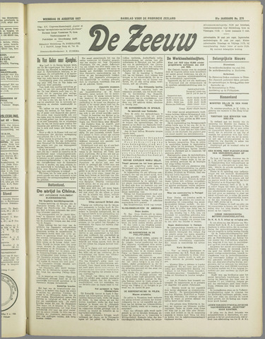 De Zeeuw. Christelijk-historisch nieuwsblad voor Zeeland 1937-08-25