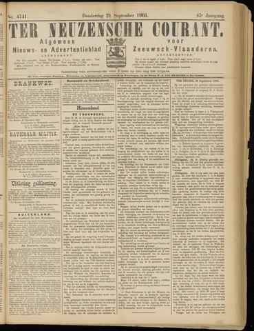 Ter Neuzensche Courant. Algemeen Nieuws- en Advertentieblad voor Zeeuwsch-Vlaanderen / Neuzensche Courant ... (idem) / (Algemeen) nieuws en advertentieblad voor Zeeuwsch-Vlaanderen 1905-09-21