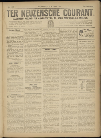 Ter Neuzensche Courant. Algemeen Nieuws- en Advertentieblad voor Zeeuwsch-Vlaanderen / Neuzensche Courant ... (idem) / (Algemeen) nieuws en advertentieblad voor Zeeuwsch-Vlaanderen 1931-03-18