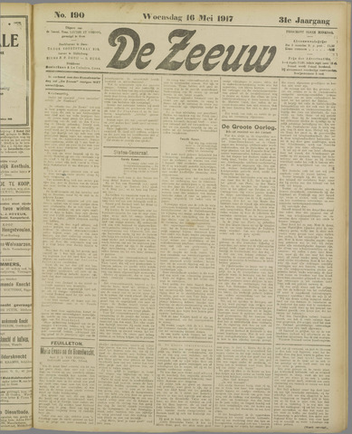 De Zeeuw. Christelijk-historisch nieuwsblad voor Zeeland 1917-05-16
