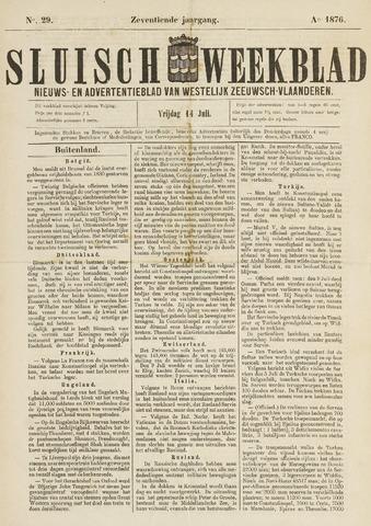 Sluisch Weekblad. Nieuws- en advertentieblad voor Westelijk Zeeuwsch-Vlaanderen 1876-07-14