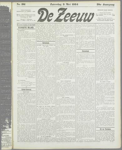 De Zeeuw. Christelijk-historisch nieuwsblad voor Zeeland 1924-05-03
