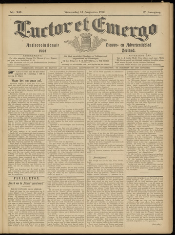 Luctor et Emergo. Antirevolutionair nieuws- en advertentieblad voor Zeeland / Zeeuwsch-Vlaanderen. Orgaan ter verspreiding van de christelijke beginselen in Zeeuwsch-Vlaanderen 1912-08-14