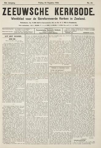 Zeeuwsche kerkbode, weekblad gewijd aan de belangen der gereformeerde kerken/ Zeeuwsch kerkblad 1926-08-20