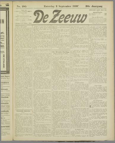 De Zeeuw. Christelijk-historisch nieuwsblad voor Zeeland 1916-09-02