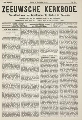 Zeeuwsche kerkbode, weekblad gewijd aan de belangen der gereformeerde kerken/ Zeeuwsch kerkblad 1925-09-18