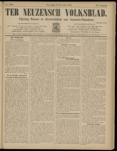 Ter Neuzensch Volksblad. Vrijzinnig nieuws- en advertentieblad voor Zeeuwsch- Vlaanderen / Zeeuwsch Nieuwsblad. Nieuws- en advertentieblad voor Zeeland 1914-11-18