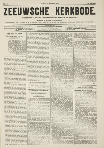 Zeeuwsche kerkbode, weekblad gewijd aan de belangen der gereformeerde kerken/ Zeeuwsch kerkblad 1935-11-01