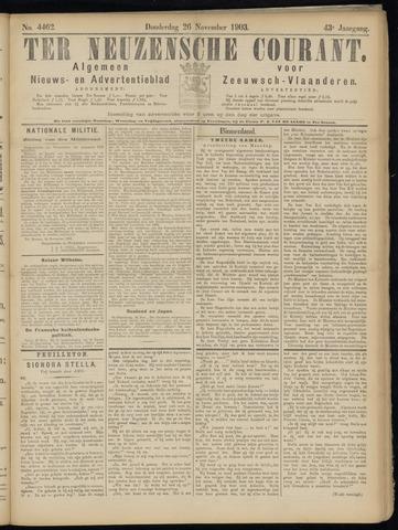Ter Neuzensche Courant. Algemeen Nieuws- en Advertentieblad voor Zeeuwsch-Vlaanderen / Neuzensche Courant ... (idem) / (Algemeen) nieuws en advertentieblad voor Zeeuwsch-Vlaanderen 1903-11-26